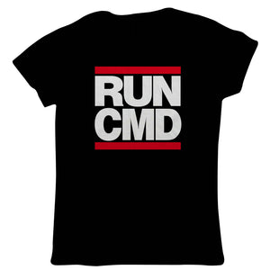 Run CMD Web Developer PC Gamer Geek Womens T-Shirt | Gamer Computer Tech Comic Fantasy Nerd Geek Retro | Gamer Graphics Console PC Shooter RPG Free Roam | Gaming Gift Her Mum