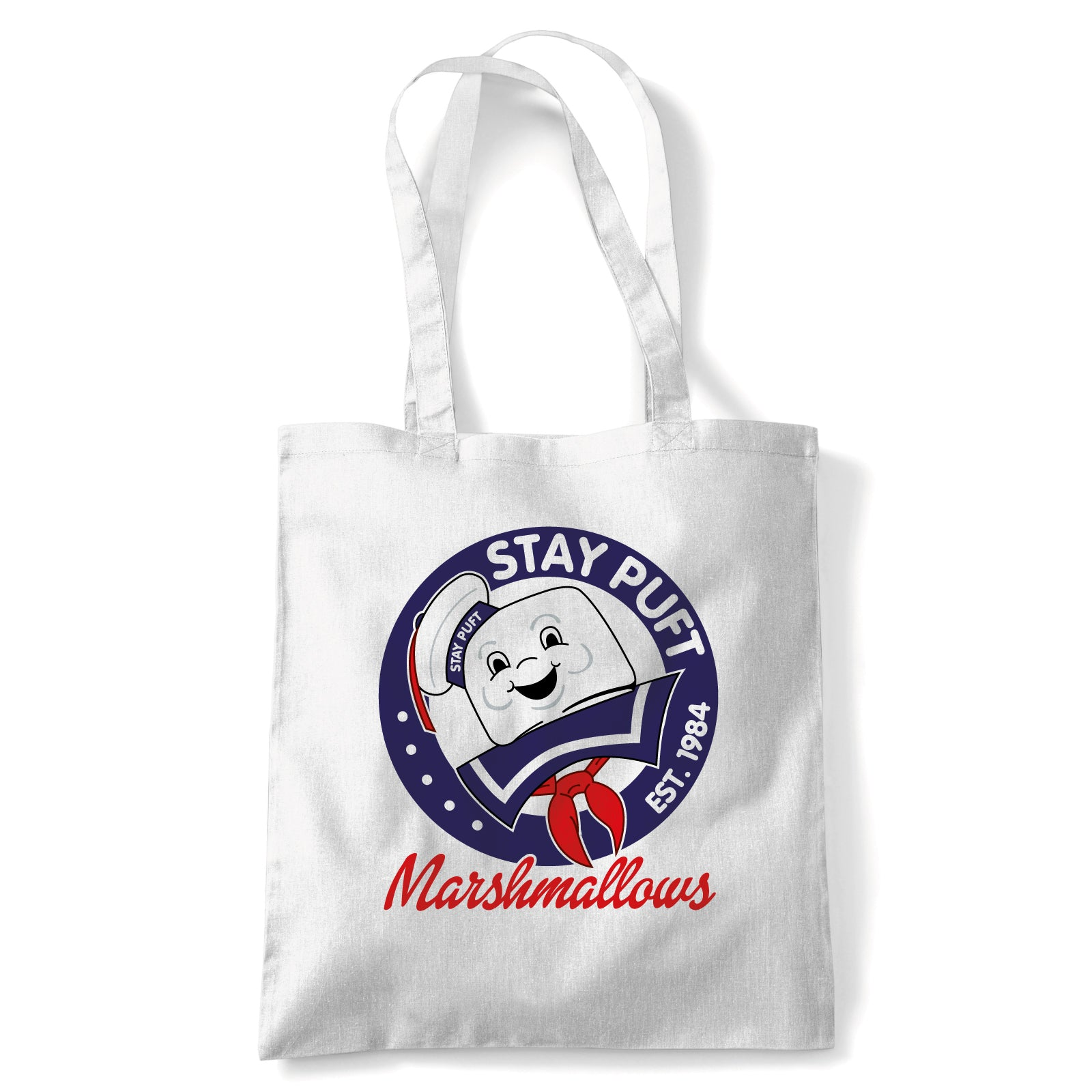 Stay Puft Movie Inspired Funny Tote | Action Adventure Horror Sci-Fi Thriller Comedy Spy | Reusable Shopping Cotton Canvas Long Handled Natural Shopper Eco-Friendly Fashion
