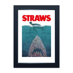 Straws Movie Inspired, Environmental Message Quality Framed Print - Kitchen Bathroom Man Cave Art