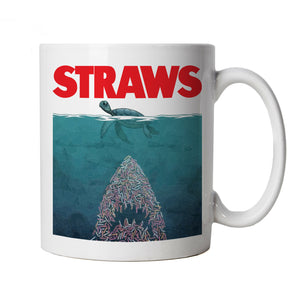 Straws Jaws Inspired Environmental Ocean, Mug | Endangered Species Pollution Global Warming Ocea | Earth Recycling Carbon Footprint Deforestation