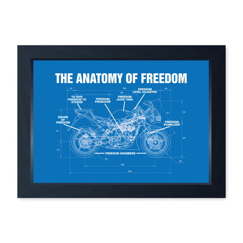 Anatomy Of Freedom, Framed Motorcycle Print - Home Decor Kitchen Bathroom Man Cave Wall Art