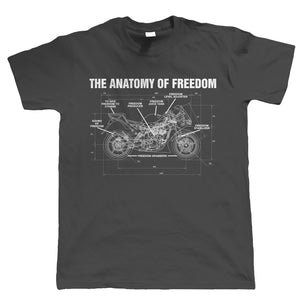Anatomy Of Freedom, Mens Funny Biker T Shirt | Motorbike Racing Racer Enthusiast Motorcycle Club Chopper Cafe Racer Superbike Gentleman Biker | Cool Birthday Christmas Gift Present Him Dad Husband Son