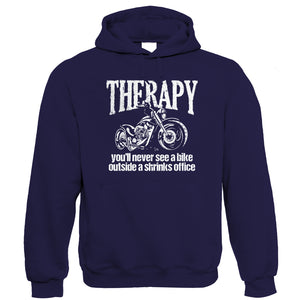 Therapy, Mens Funny Biker Hoodie | Motorbike Enthusiast Motorcycle Club Chopper Cafe Racer Superbike Gentleman Biker | Cool Birthday Christmas Gift Present Him Dad Husband Son
