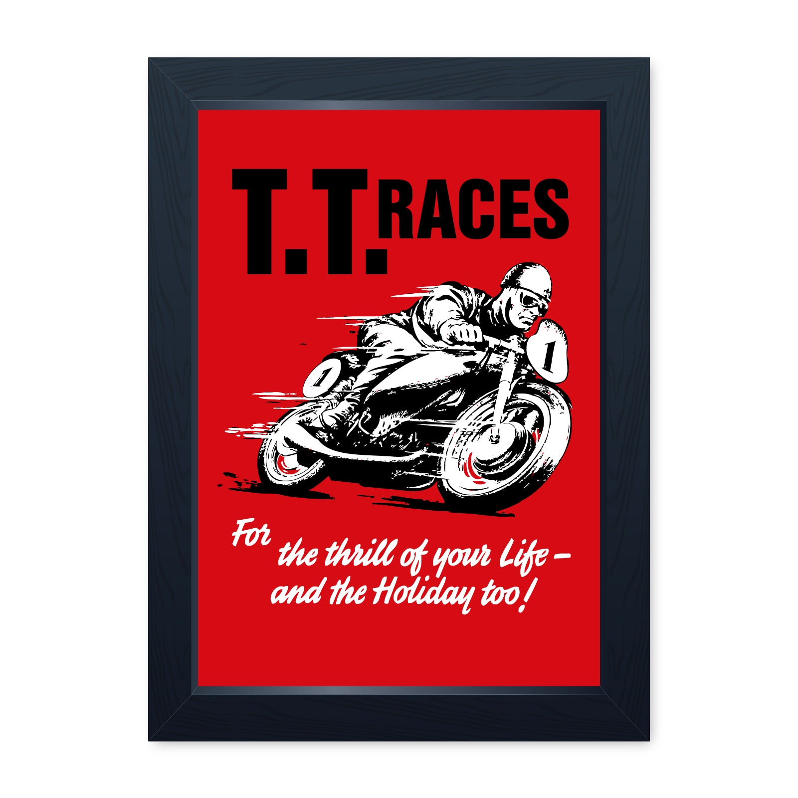 TT Races, Retro Quality Framed Motorcycle Print - Home Decor Kitchen Bathroom Man Cave Wall Art