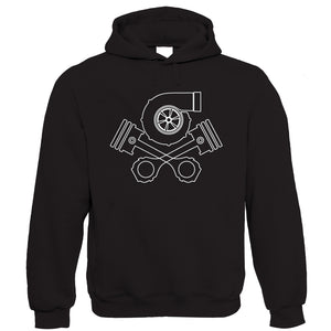 Turbo Skull and Crossbones, Mens Car Tuning Hoodie
