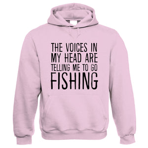 The Voices In My Head Are Telling Me To Go Fishing, Funny Hoodie | Coarse Carp Sea Match Fly Specimen Tackle Fishermen Clothing Angling Angler | Cool Birthday Christmas Gift Him Dad Husband