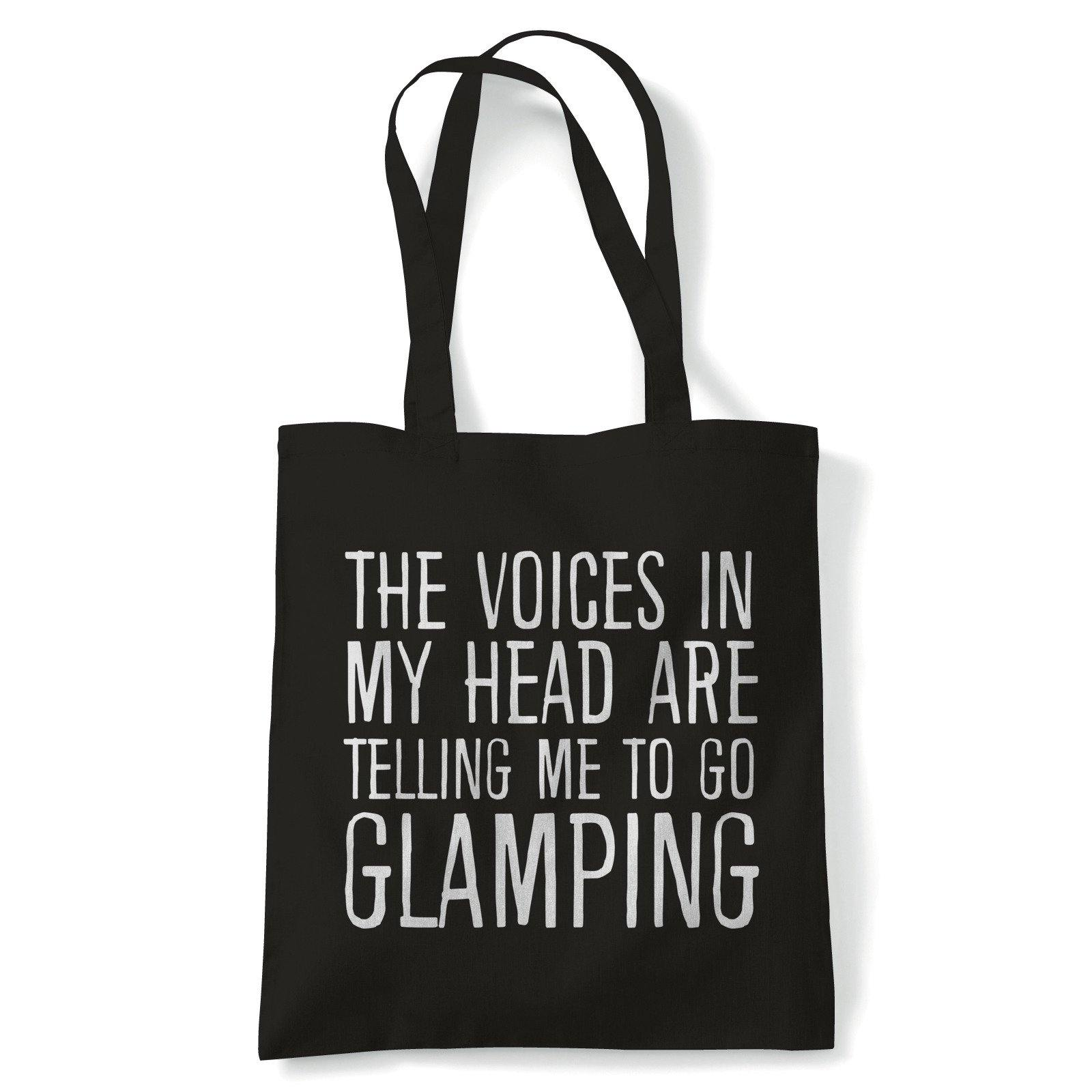 Voices In My Head Go Glamping Tote | Reusable Shopping Cotton Canvas Long Handled Natural Shopper Eco-Friendly Fashion | Gym Book Bag Birthday Present Gift Her | Multiple Colours Available