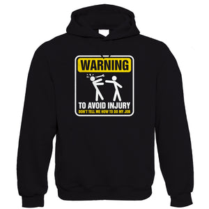 Warning To Avoid Injury, Mens Funny Mechanic Hoodie