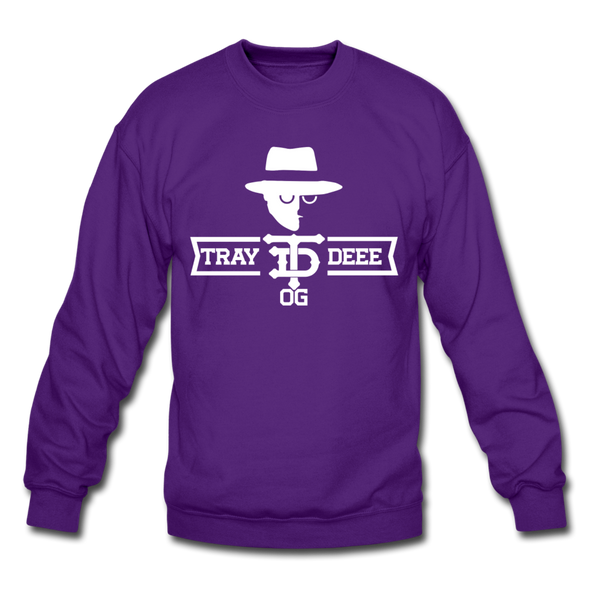 Tray Deee OG White Logo Crewneck Sweatshirt - purple