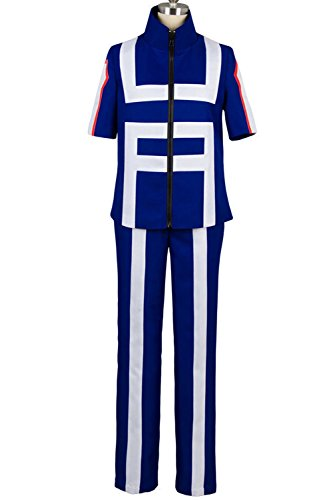 Valecos Cosplay Boku No Hero Academia My Hero Academia Izuku Midoriya Costume Training Suit Uniform Blue (Large)