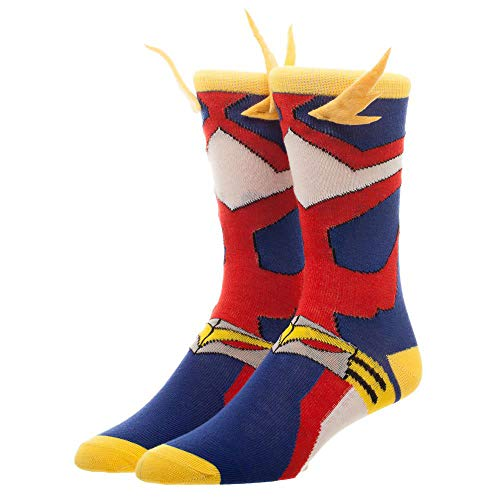 My Hero Academia Cosplay Men's Crew Socks 3D Wings , Red, Blue, Yellow, White , Large