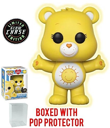 Funko Pop! Animation: Care Bears - Funshine Bear CHASE Variant Glow in the Dark Vinyl Figure (Bundled with Pop Box Protector Case)