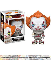 Pennywise [w/ Boat]: Funko POP! Movies x It Vinyl Figure + 1 Classic Horror & Sci-fi Movies Trading Card Bundle (20176)