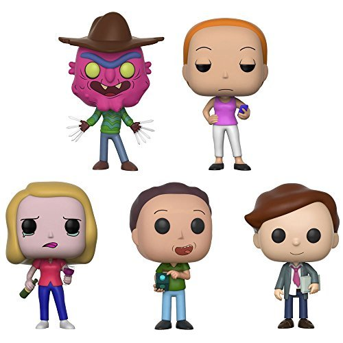 Funko Pop Animation Rick & Morty Scarry Terry, Summer, Beth (Wine Glass), Jerry, Lawyer Morty Vinyl Figures Set