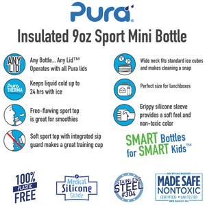 Pura Sport Mini 260 Insulated Stainless Steel Bottle - Orange