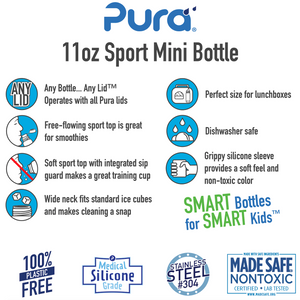 Pura Sport Mini 325 Stainless Steel Bottle - Aqua Swirl
