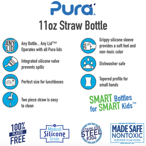 Pura Kiki 325ml Straw Stainless Steel Bottle - Aqua Swirl Sleeve