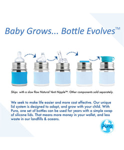 Pura Kiki 150ml Infant Stainless Steel Bottle - Aqua Sleeve