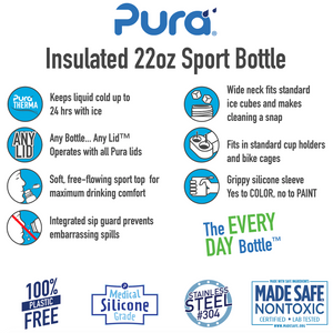 Pura Sport 650 Insulated Stainless Steel Bottle - Black