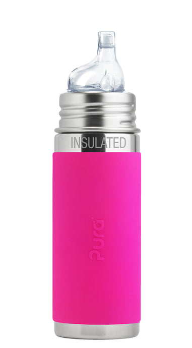 Pura Kiki 260ml Insulated Toddler Sippy - Pink Sleeve
