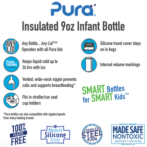 Pura Kiki 260ml Insulated Infant Stainless Steel Bottle - Green Sleeve