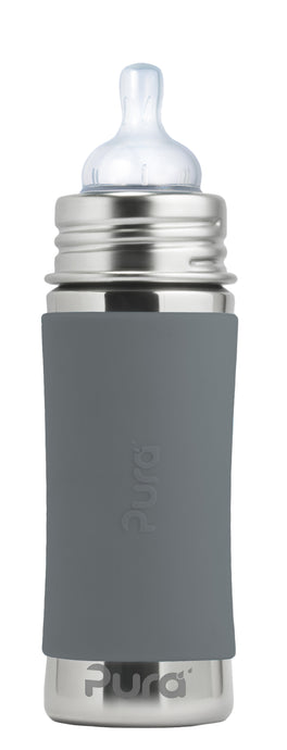 Pura Kiki 325ml Infant Stainless Steel Bottle - Slate