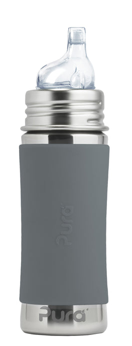 Pura Kiki 325ml Toddler Sippy Stainless Steel Bottle - Slate
