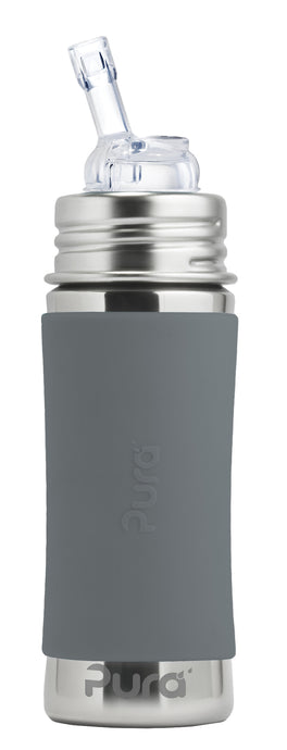 Pura Kiki 325ml Straw Stainless Steel Bottle - Slate Sleeve