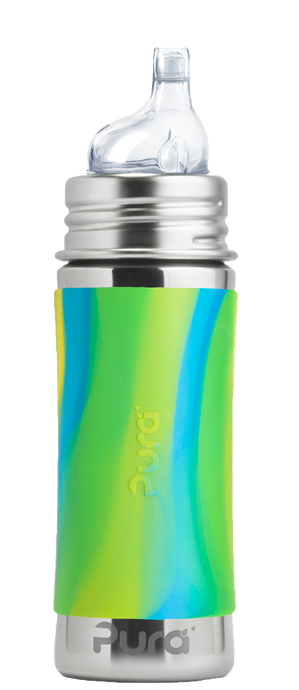 Pura Kiki 325ml Toddler Sippy Stainless Steel Bottle - Aqua Swirl