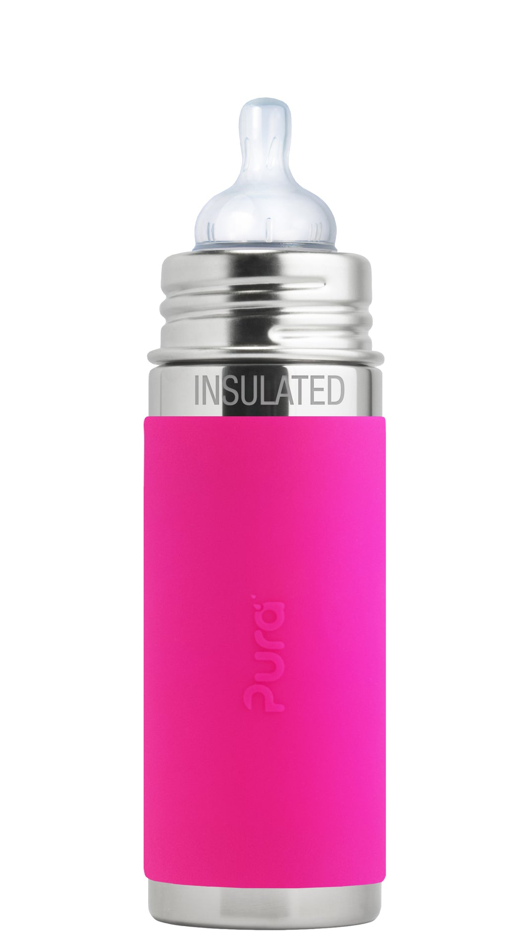 Pura Kiki 260ml Insulated Infant Stainless Steel Bottle - Pink Sleeve