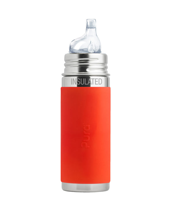 Pura Kiki 260ml Insulated Toddler Sippy - Orange Sleeve
