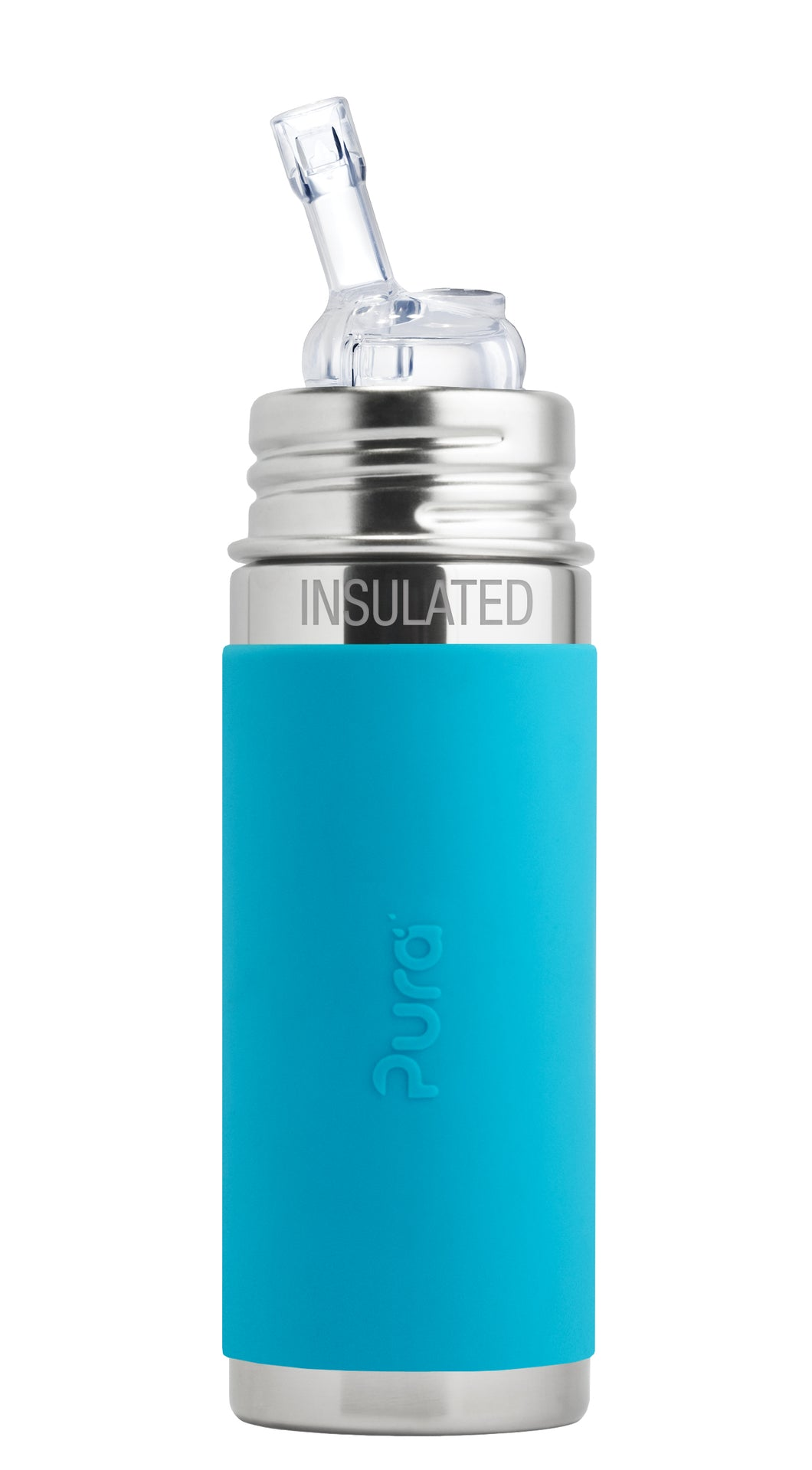Pura Kiki 260ml Insulated Straw Stainless Steel Bottle - Aqua Sleeve