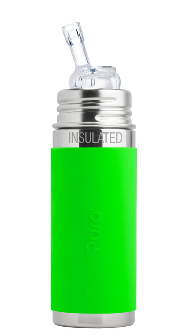 Pura Kiki 260ml Insulated Straw Stainless Steel Bottle - Green