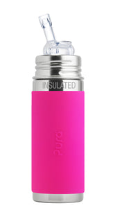 Pura Kiki 260ml Insulated Straw Stainless Steel Bottle - Pink