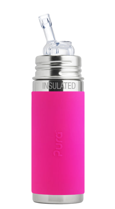 Pura Kiki 260ml Insulated Straw Stainless Steel Bottle - Pink Sleeve