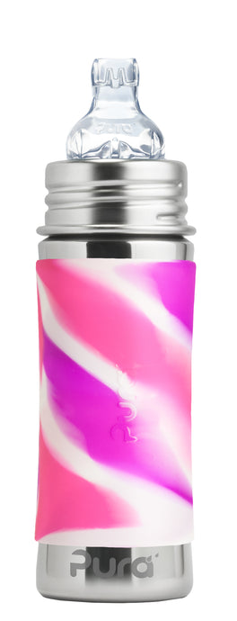 Pura Kiki 325ml Toddler Sippy Stainless Steel Bottle - Pink Swirl