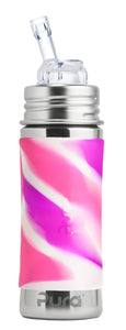 Pura Kiki 325ml Straw Stainless Steel Bottle - Pink Swirl