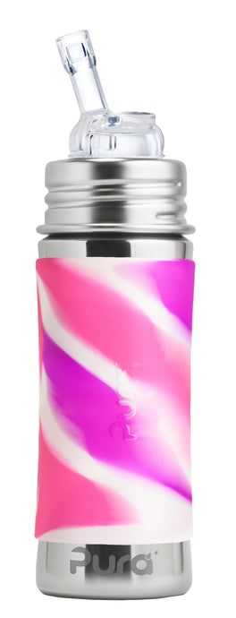 Pura Kiki 325ml Straw Stainless Steel Bottle - Pink Swirl Sleeve