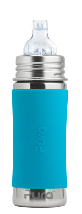 Pura Kiki 325ml Toddler Sippy Stainless Bottle - Aqua Sleeve