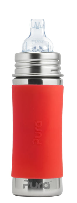 Pura Kiki 325ml Toddler Sippy Stainless Bottle - Orange Sleeve