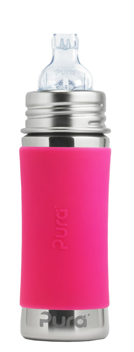 Pura Kiki 325ml Toddler Sippy Stainless Bottle - Pink Sleeve