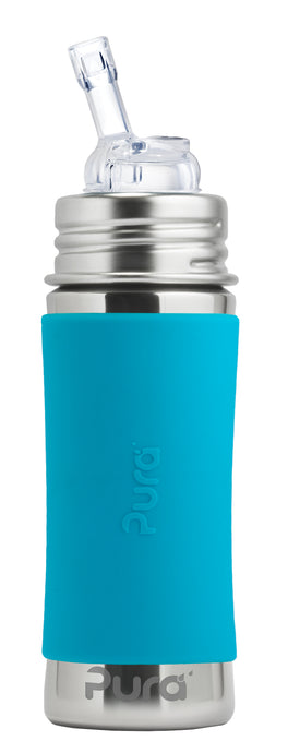 Pura Kiki 325ml Straw Stainless Steel Bottle - Aqua Sleeve