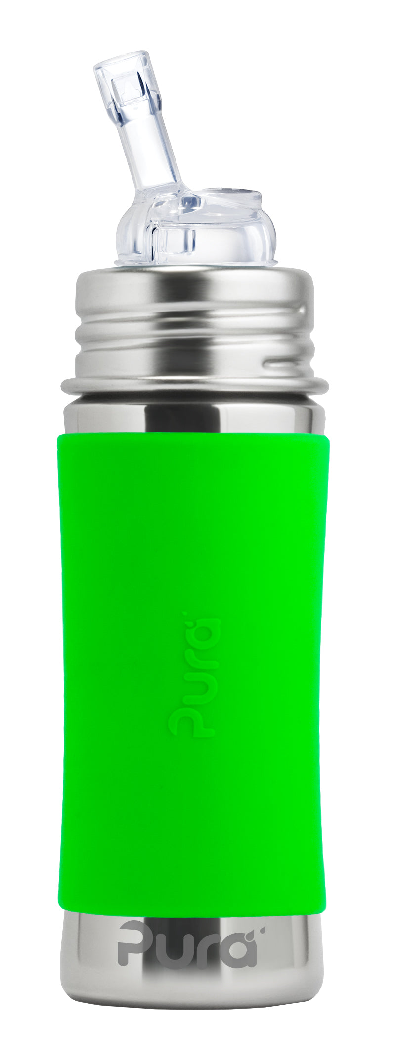 Pura Kiki 325ml Straw Stainless Steel Bottle - Green
