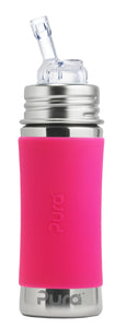 Pura Kiki 325ml Straw Stainless Steel Bottle - Pink Sleeve
