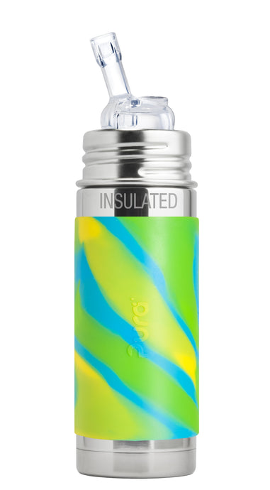 Pura Kiki 260ml Insulated Straw Stainless Steel Bottle - Aqua Swirl Sleeve