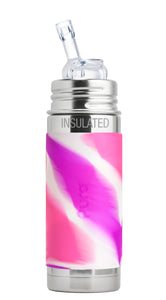 Pura Kiki 260ml Insulated Straw Stainless Steel Bottle - Pink Swirl Sleeve