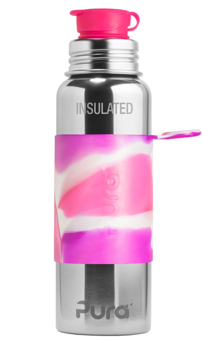 Pura Sport 650 Insulated Stainless Steel Bottle - Pink Swirl (New)