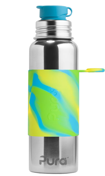 Pura Sport 850 Stainless Steel Bottle - Aqua Swirl (New)
