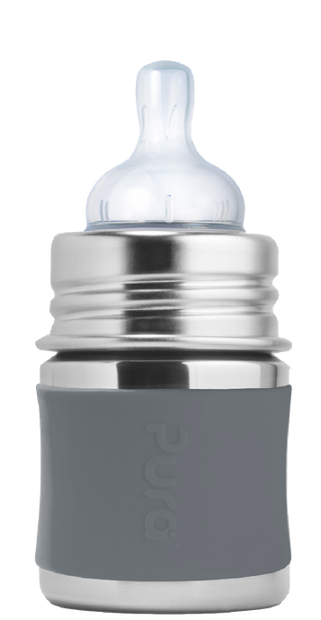 Pura Kiki 150ml Infant Stainless Steel Bottle - Slate