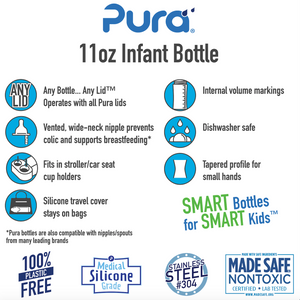 Pura Kiki 325ml Infant Stainless Steel Bottle - Orange Sleeve